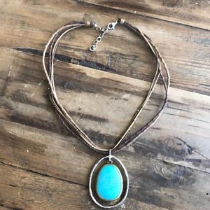 Silpada Blue-Green & Howlite And Leather necklace